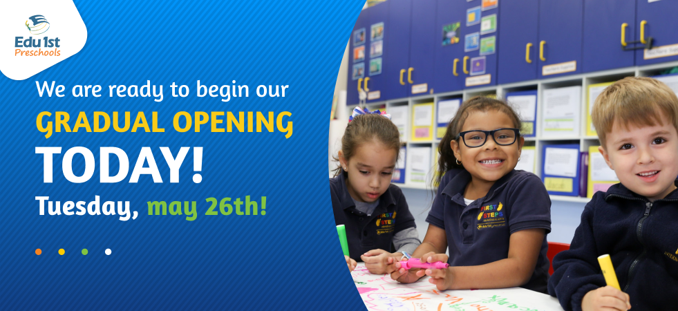 Edu1st.Preschools is now ready for a gradual opening!